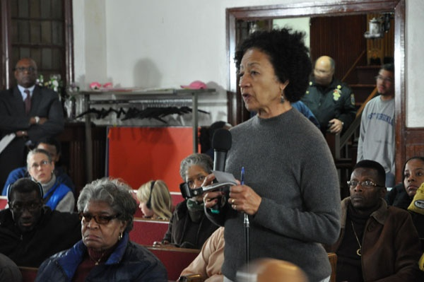 Yvonne Haskins at PHA meeting on Queen's Lane Apartment Potter's Filed Issue