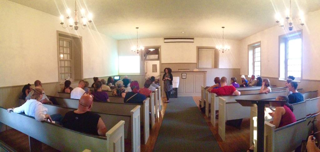 The volunteer session was held at the Germantown Mennonite Meeting House, built in 1770. Learn more about the Germantown Mennonite Historic Trust.